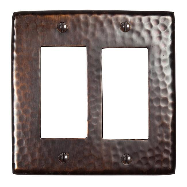 Solid Hammered Copper Double GFCI Plate - Antique Copper switch plates The Copper Factory