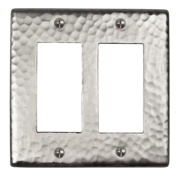 Switch Plates - Solid Hammered Copper Double GFCI Plate - Satin Nickel