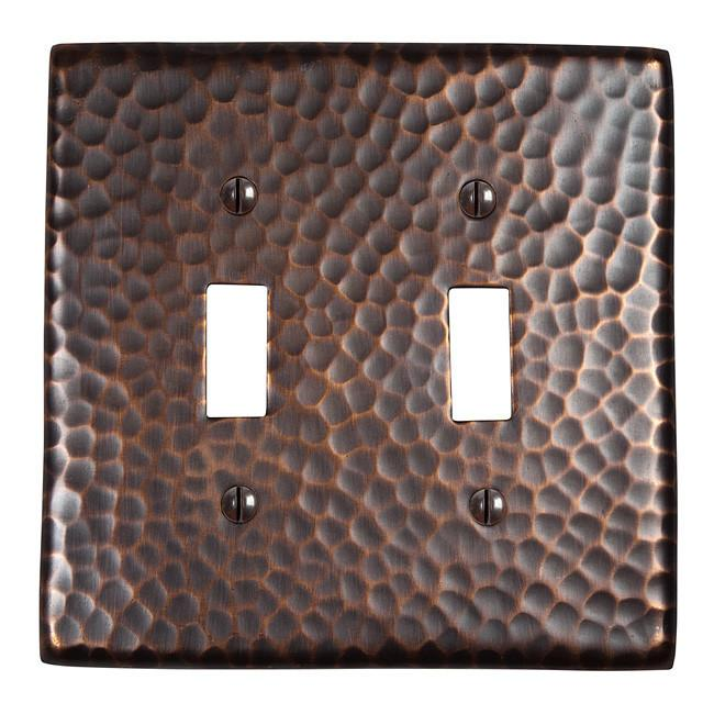 Solid Hammered Copper Double Switch Plate - Antique Copper switch plates The Copper Factory