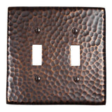 Switch Plates - Solid Hammered Copper Double Switch Plate - Antique Copper