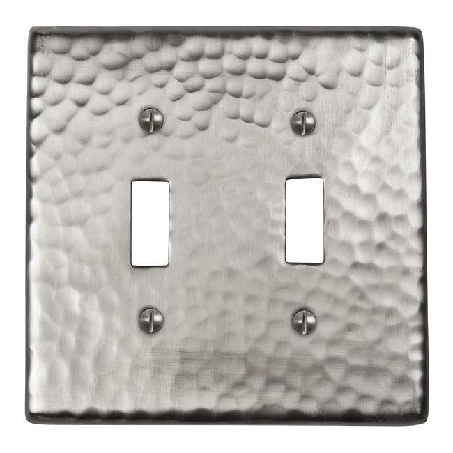 Solid Hammered Copper Double Switch Plate - Satin Nickel switch plates The Copper Factory