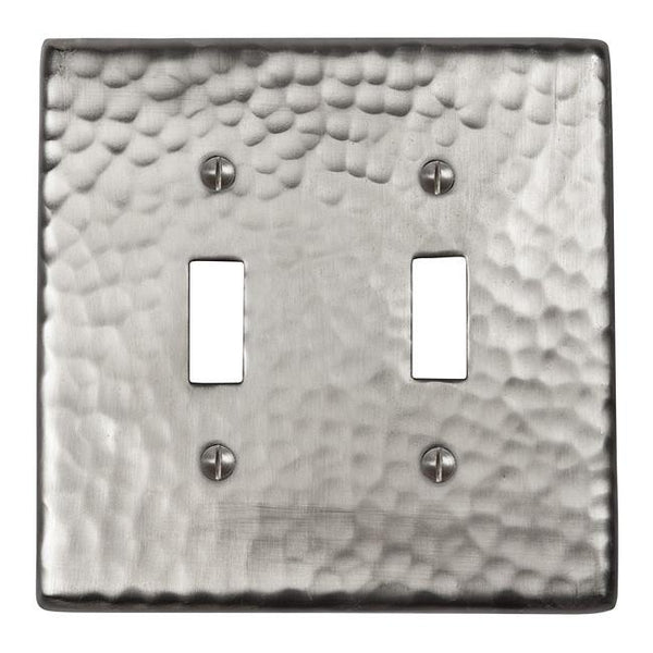 Solid Hammered Copper Double Switch Plate Satin Nickel