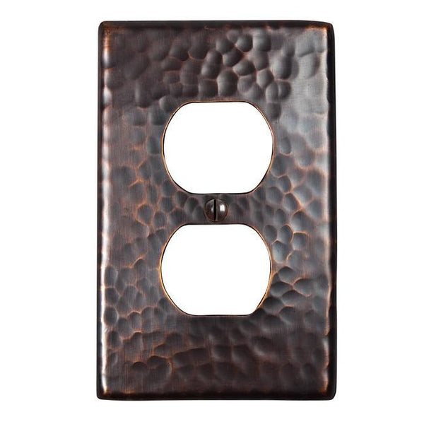 Switch Plates - Solid Hammered Copper Single Duplex Receptacle Plate - Antique Copper
