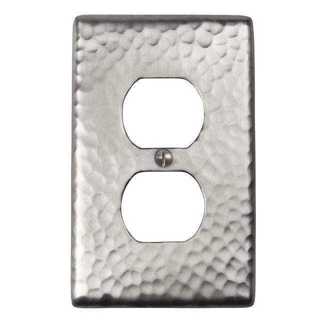 Solid Hammered Copper Single Duplex Receptacle Plate - Satin Nickel switch plates The Copper Factory