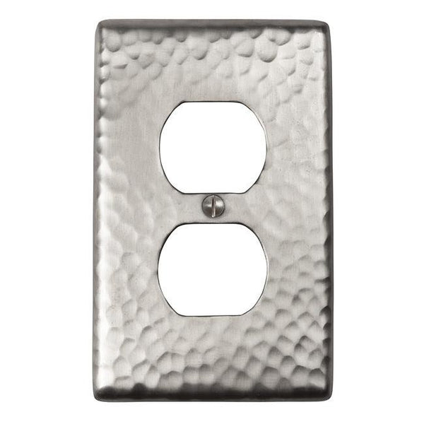 Switch Plates - Solid Hammered Copper Single Duplex Receptacle Plate - Satin Nickel