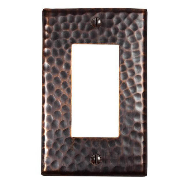 Switch Plates - Solid Hammered Copper Single GFCI Plate  - Antique Copper