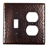 Switch Plates - Solid Hammered Copper Single Switch And Duplex Receptacle Combination Plate - Antique Copper