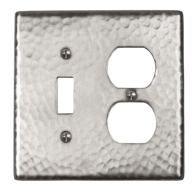 Solid Hammered Copper Single Switch - Satin Nickel switch plates The Copper Factory