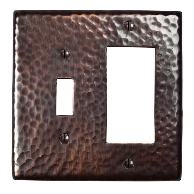 Solid Hammered Copper Single Switch and GFCI Combination Plate - Antique Copper switch plates The Copper Factory