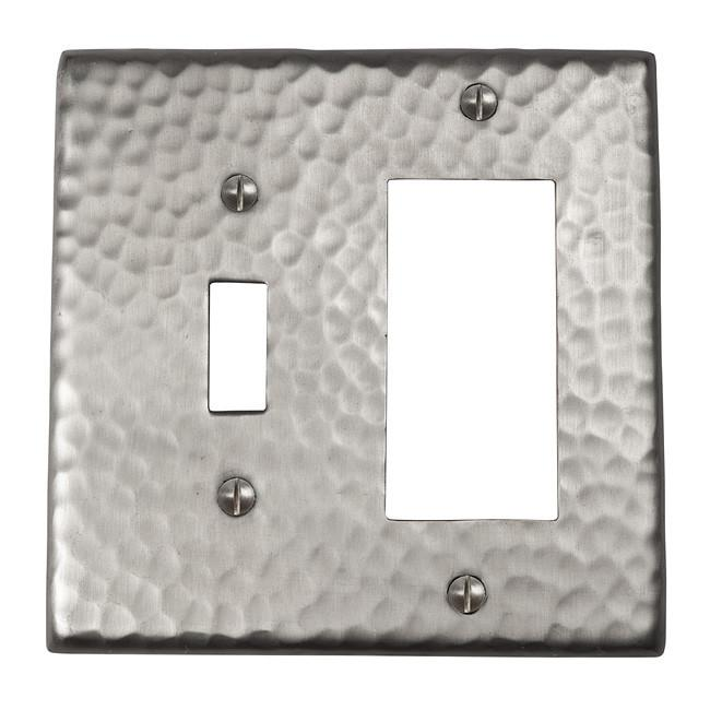 Solid Hammered Copper Single Switch and GFCI Combination Plate - Satin Nickel switch plates The Copper Factory