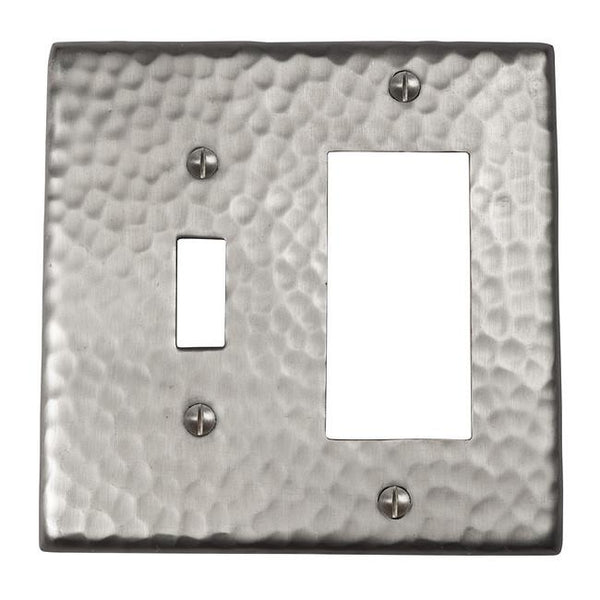Switch Plates - Solid Hammered Copper Single Switch And GFCI Combination Plate - Satin Nickel
