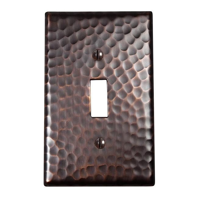 Solid Hammered Copper Single Switch Plate - Antique Copper switch plates The Copper Factory