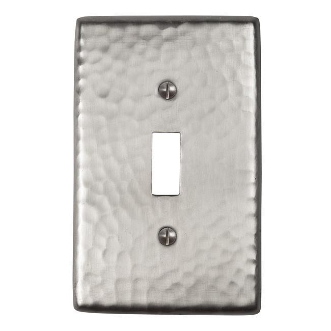 Solid Hammered Copper Single Switch Plate - Satin Nickel switch plates The Copper Factory