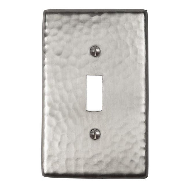 Switch Plates - Solid Hammered Copper Single Switch Plate - Satin Nickel
