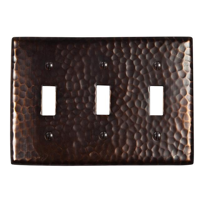Solid Hammered Copper Tripple Switch Plate - Antique Copper switch plates The Copper Factory