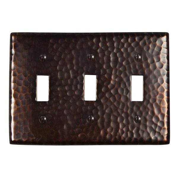 Switch Plates - Solid Hammered Copper Tripple Switch Plate - Antique Copper