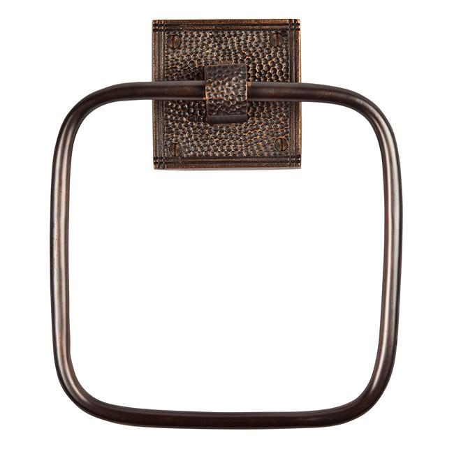 Solid Copper Towel Ring with a Square Backplate - Antique Copper Towel Ring The Copper Factory
