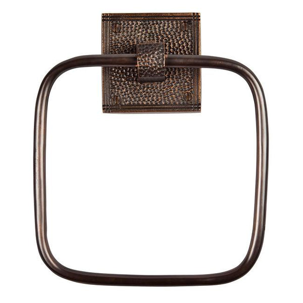 Towel Ring - Solid Copper Towel Ring With A Square Backplate - Antique Copper