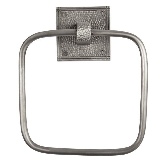 Solid Copper Towel Ring with a Square Backplate - Satin Nickel Towel Ring The Copper Factory