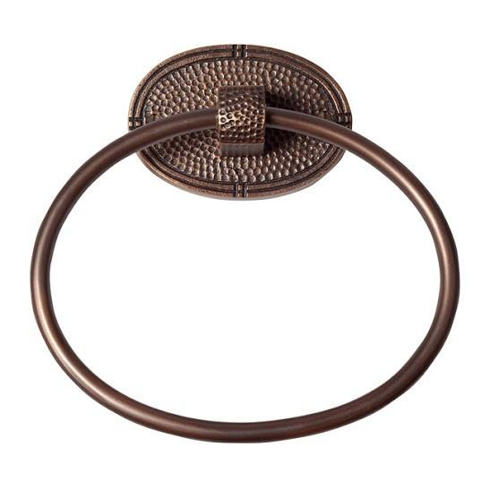 Solid Copper Towel Ring with an Oval Backplate - Antique Copper Towel Ring The Copper Factory