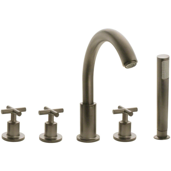 Tub Faucet - Sir Faucet 716-BN Brushed Nickel Widespread Roman Tub Faucet With Body Spray