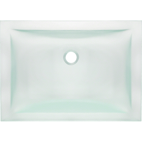 Vessel Sink - Polaris PUG3191FR Undermount Rectangular Glass Sink