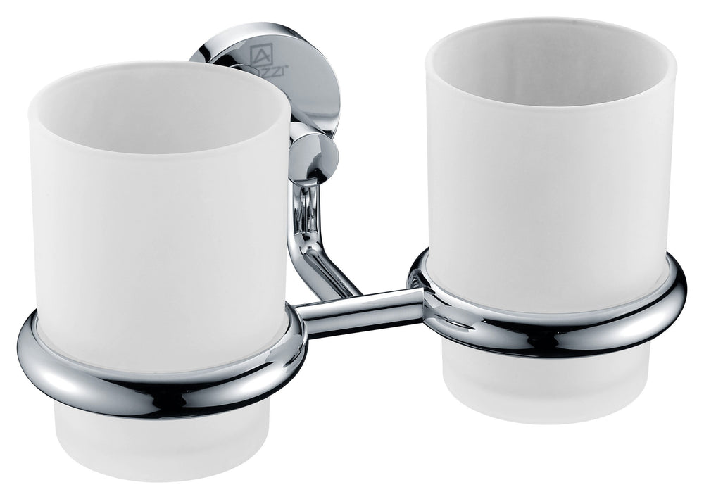 ANZZI Caster Series Double Toothbrush holder in Polished Chrome Toothbrush Holder ANZZI