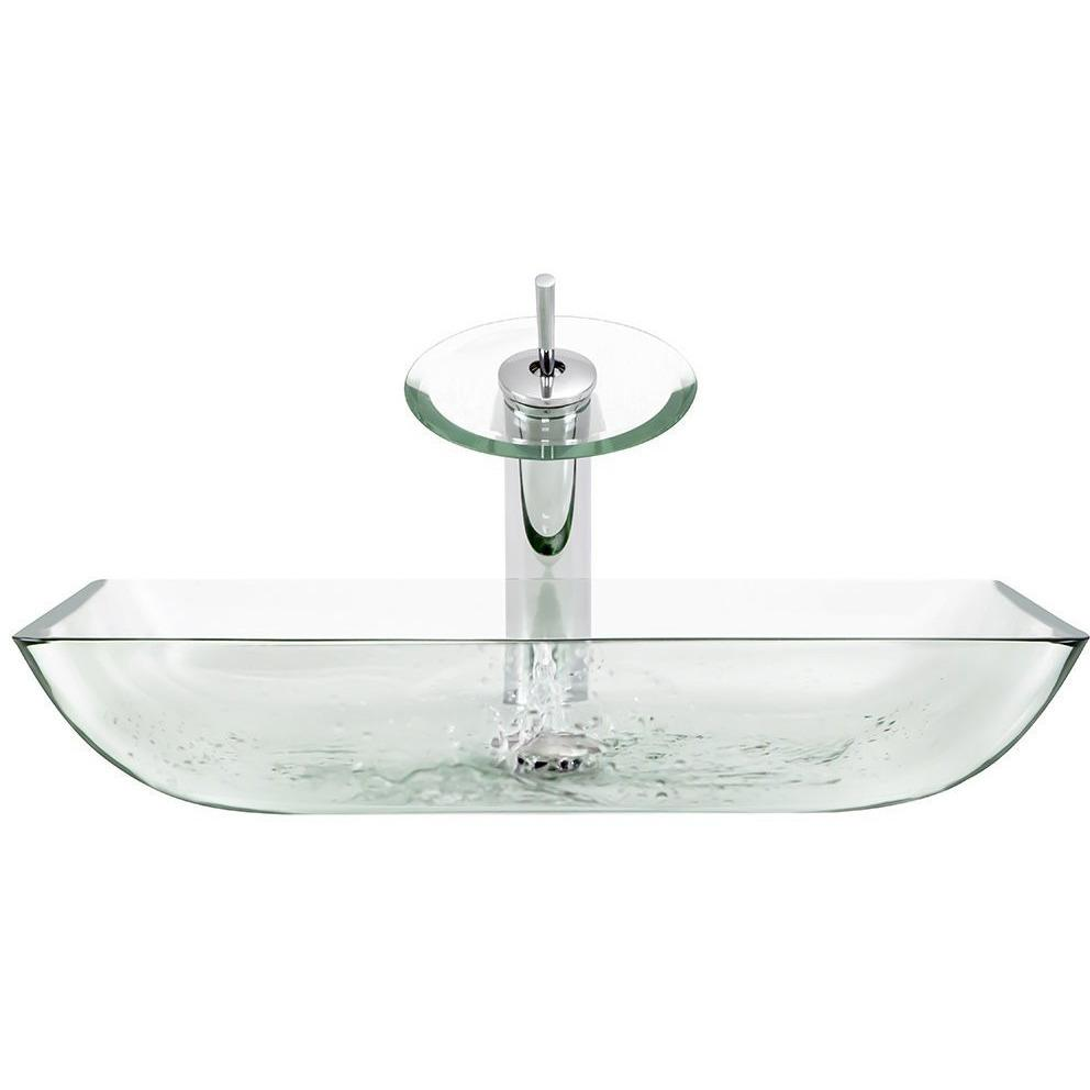 The Polaris P046 Crystal Bathroom Waterfall Faucet Ensemble Waterfall Faucet Ensemble Polaris
