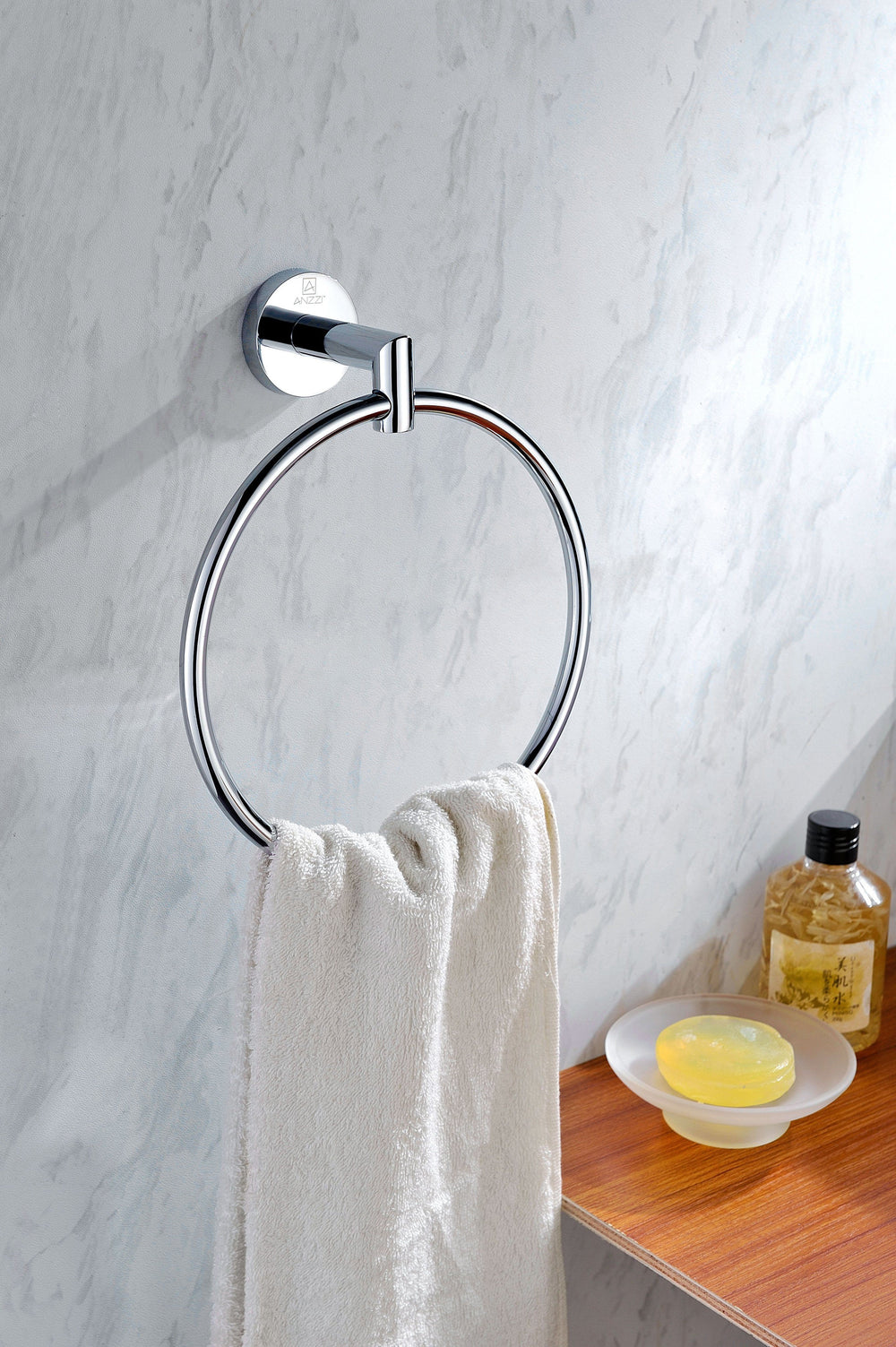 ANZZI Caster 2 Series Towel Ring in Polished Chrome Towel Ring ANZZI