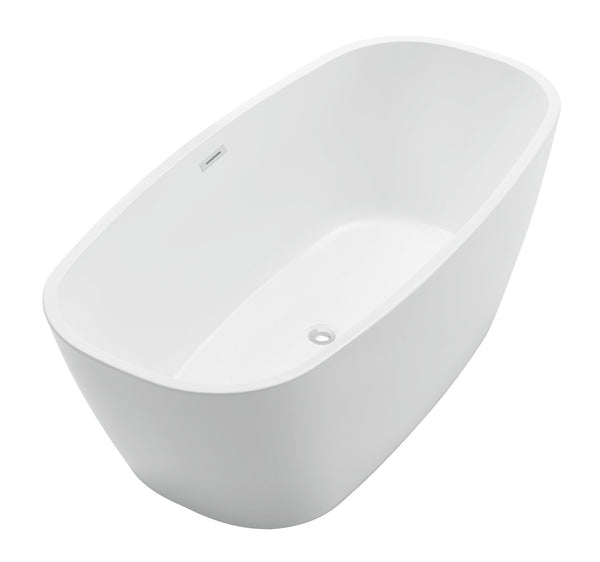 ANZZI Bridge Series 5.58 ft. Freestanding Bathtub in White