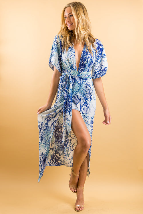 50 Shades of Blue Kimono Dress | Fedra Boutique