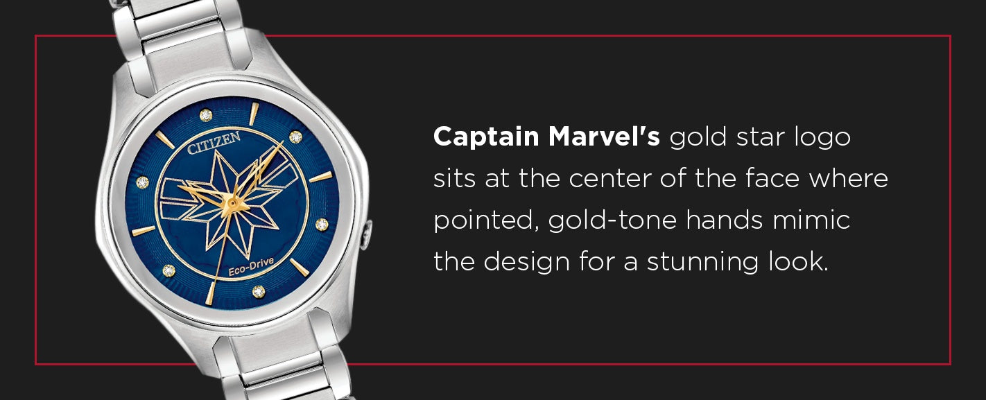 Captain Marvel's Gold Star Logo Watch