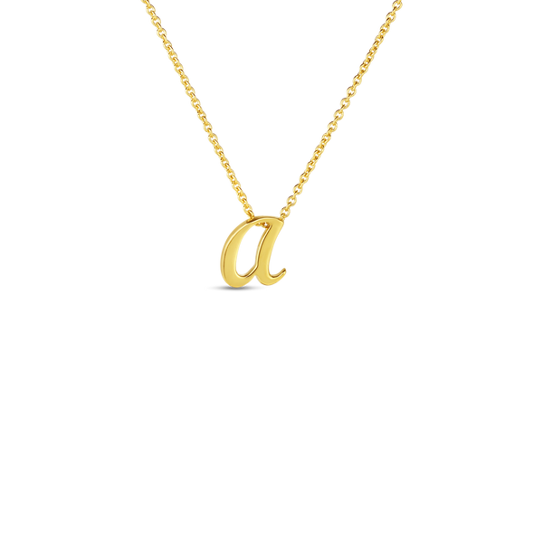 18K Yellow Gold Small Script Initial 'A' Pendant on Chain