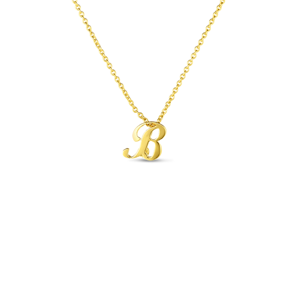 18K Yellow Gold Small Script Initial 'B' Pendant on Chain