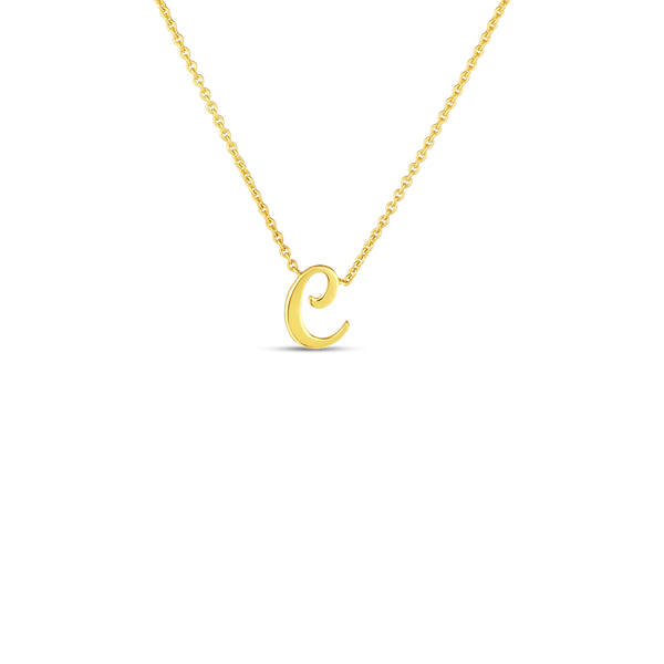 18K Yellow Gold Small Script Initial 'C' Pendant on Chain