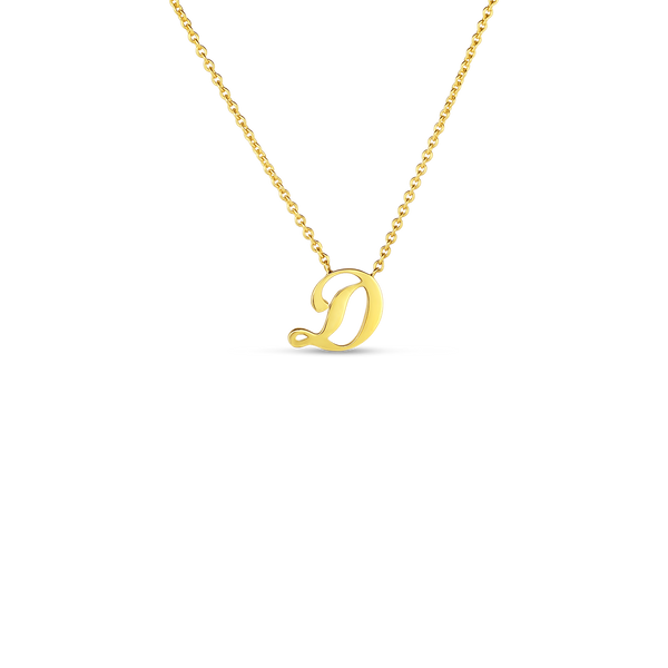 18K Yellow Gold Small Script Initial 'D' Pendant on Chain