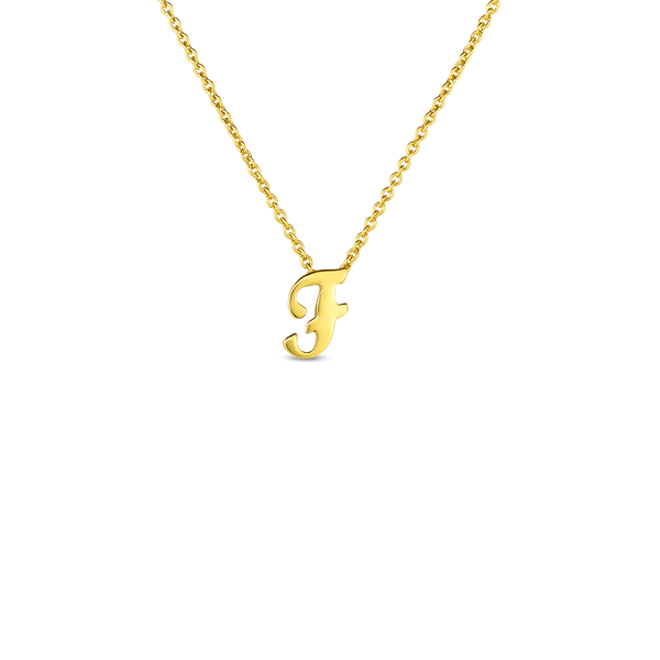 18K Yellow Gold Small Script Initial 'F' Pendant on Chain