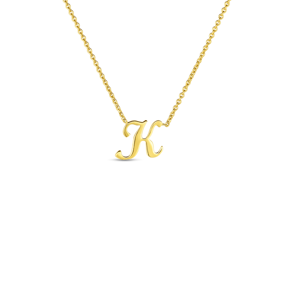 18K Yellow Gold Small Script Initial 'K' Pendant on Chain