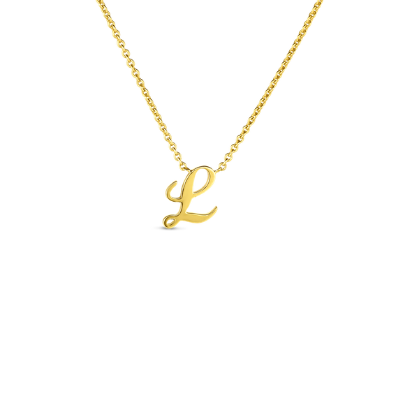 18K Yellow Gold Small Script Initial 'L' Pendant on Chain