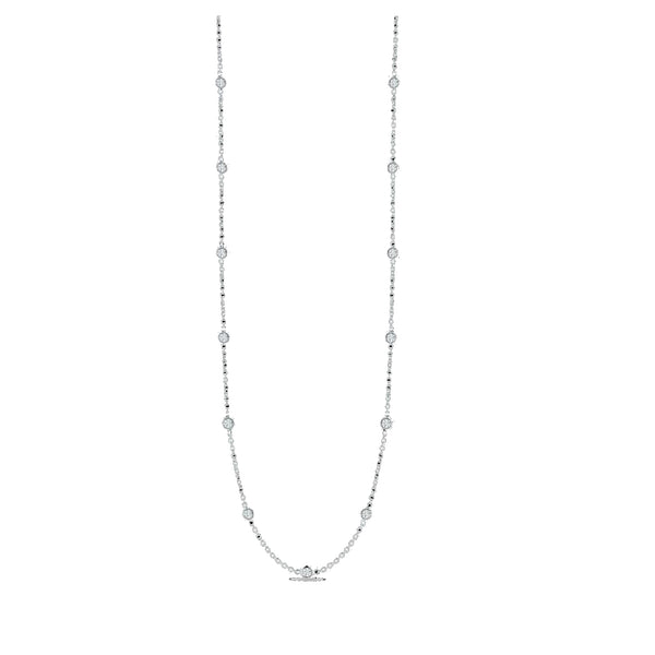 18K White Gold Necklace With 15 Diamond Stations