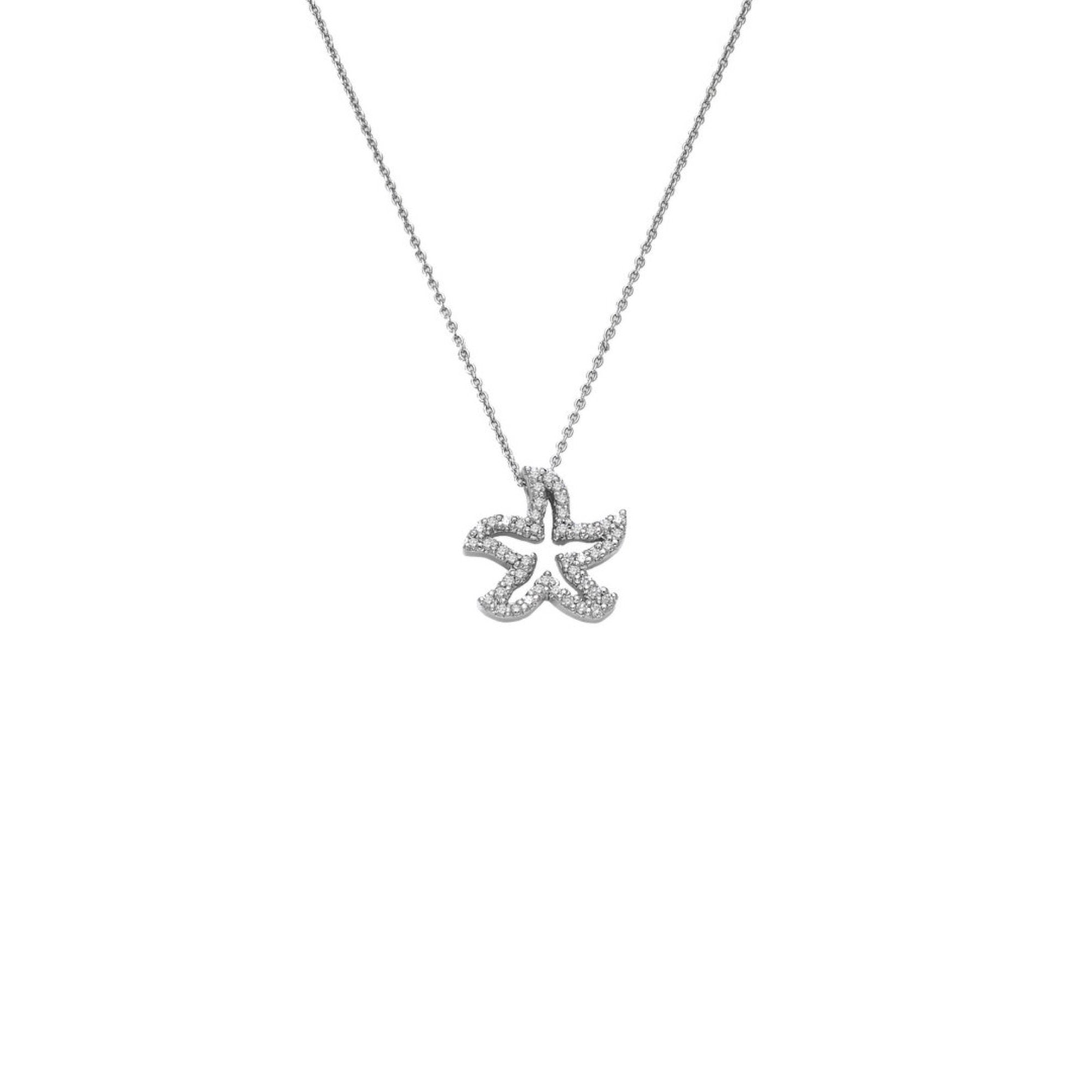 18K White Gold Diamond Starfish Pendant