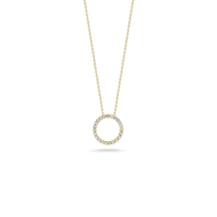 18K Yellow Gold X-Small Circle Pendant With Diamonds