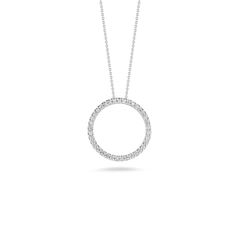 18K White Gold Small Circle Pendant With Diamonds