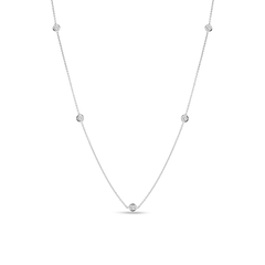 18K White Gold 5 Station Diamond Necklace