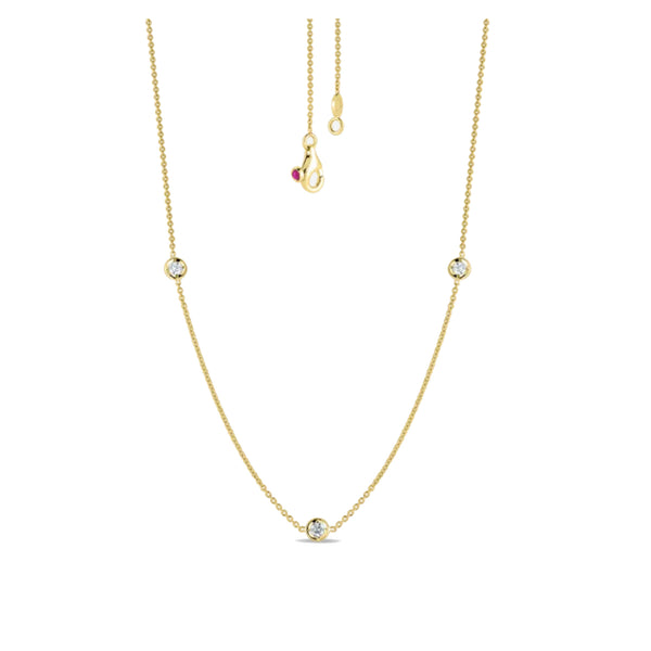 18K Yellow Gold Necklace With 3 Diamond Stations