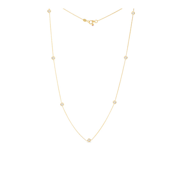 18K Yellow Gold Necklace With 7 Diamond Stations