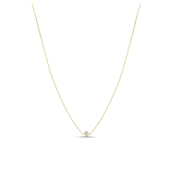 18K Yellow Gold Necklace With 1 Diamond Station