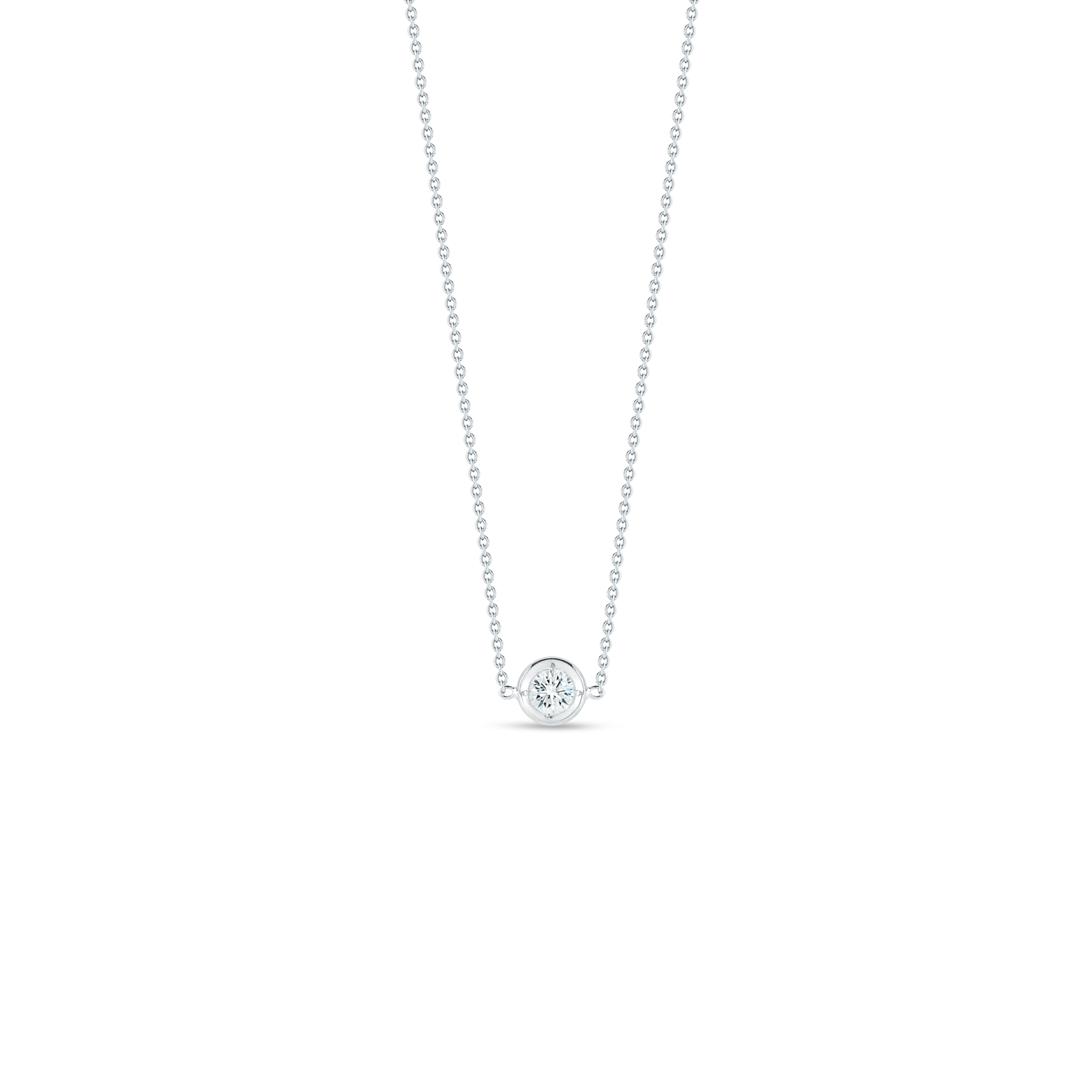 18K White Gold Single Station Diamond Necklace