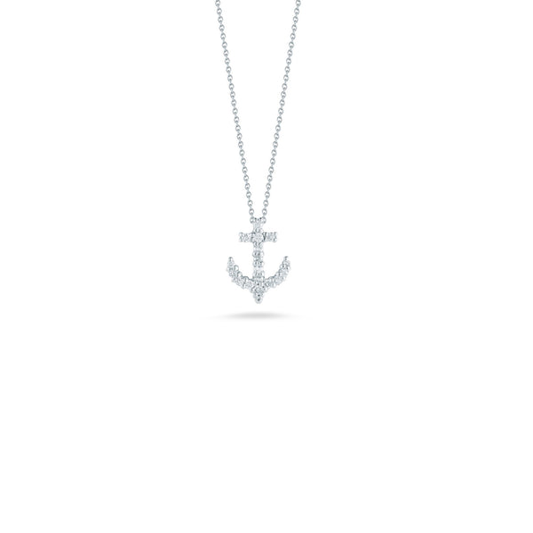 18K White Gold Anchor Pendant With Diamonds