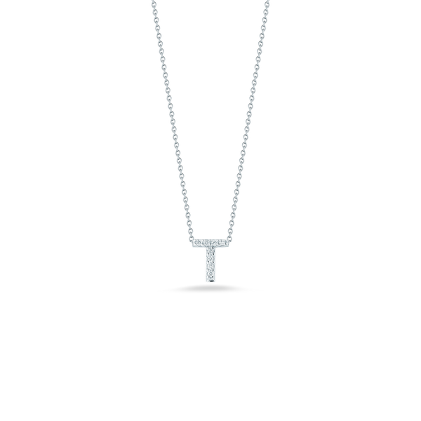 18K White Gold Love Letter T Pendant With Diamonds